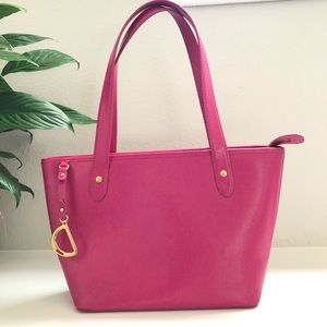 RALPH LAUREN PINK LEATHER TOTE